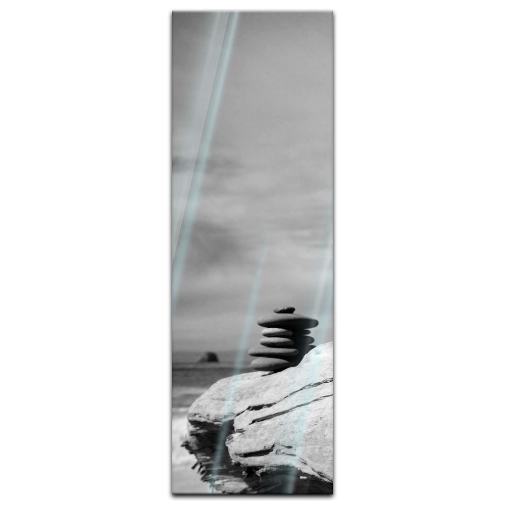 Glasbild - Zen Steine - schwarz weiss