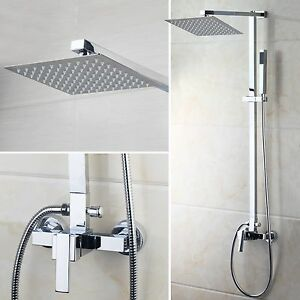 US Bathroom Chrome Rain 8 39 39 Shower Head Arm Set Faucet With Valve Tap