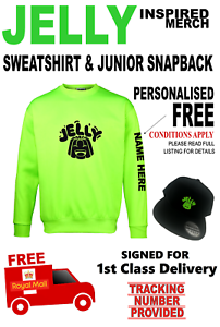 JELLY-inspired-Sweatshirt-amp-Snapback-Skip-Cap-AGE-7-8yrs-PERSONALISED-FREE