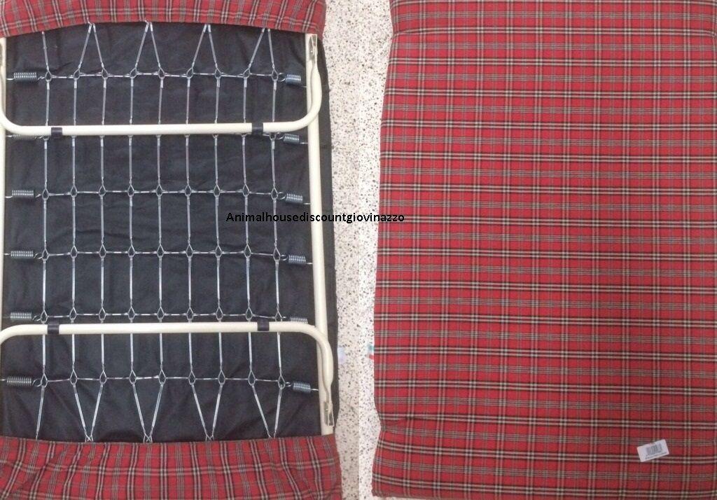 Brandina per cani Pisolo cm. 85×55 con materasso e rete metallica Lettino Cuccia