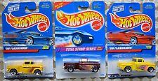 Hot Wheels 1956 '56 Chevy Flashsider x3, Steel Stamp Series, #1028, #771 Yellow