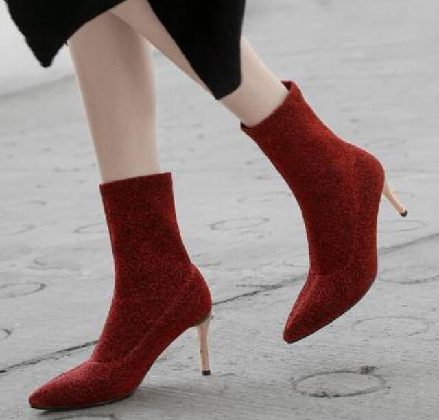 Sexy femmes European Oxford Stretchy Combat Pointy Toe Stilettos Heel chaussures Uk