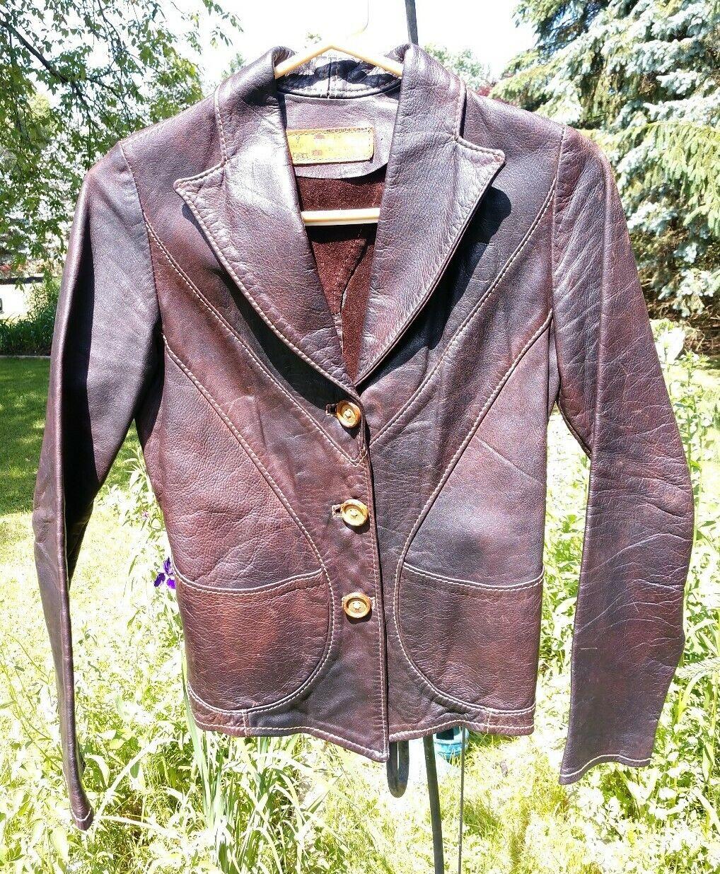 (Size XS) Vintage Oshwahkon 1960's Leather Jacket Victorian Brown Bohemian Punk