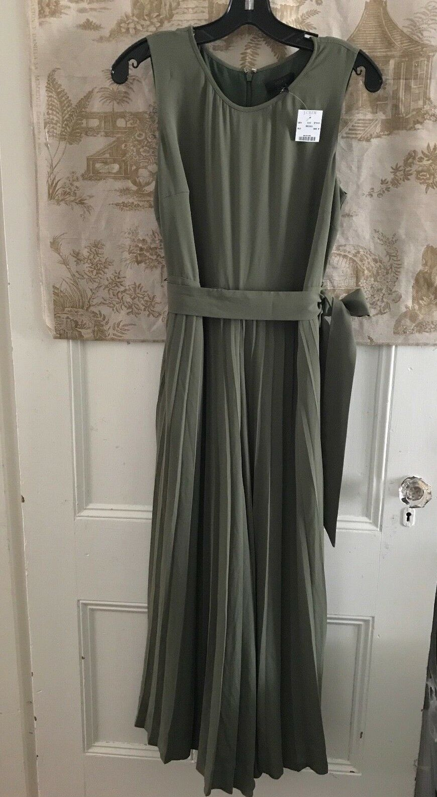 NWT NEW J. CREW WIDE LEG PLEATED JUMPSUIT SAGE GREEN SIZE 8