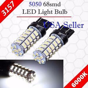 2X 3157 3156 Xenon 6000K White 68-SMD Chip LED DRL Daytime Running Light Bulbs