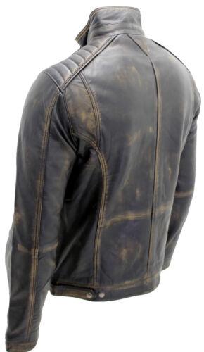 Men/'s Vintage Black 100/% Leather Biker Jacket