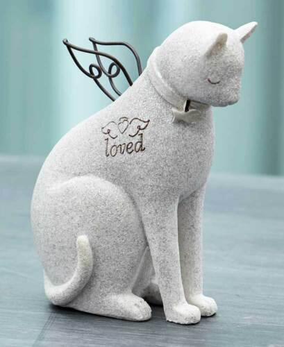 Faithful ANGEL PET CAT DOG MEMORIAL FIGURE PHOTO PICTURE CREMATION URN Heart Paw
