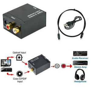 Digital Coaxial RCA DAC Audio Converter Coax Toslink Adapter Optical Analog to