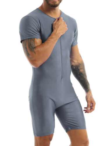 Men Short Sleeve Bodysuit Boxer Shrots One Piece Jumpsuit Sports Romper Leotard