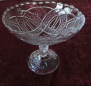 BRYCE-HIGBEE-ANONA-TWIN-TEARDROPS-8-034-COMPOTE-EAPG-PRESSED-PATTERN-GLASS-ANTIQUE