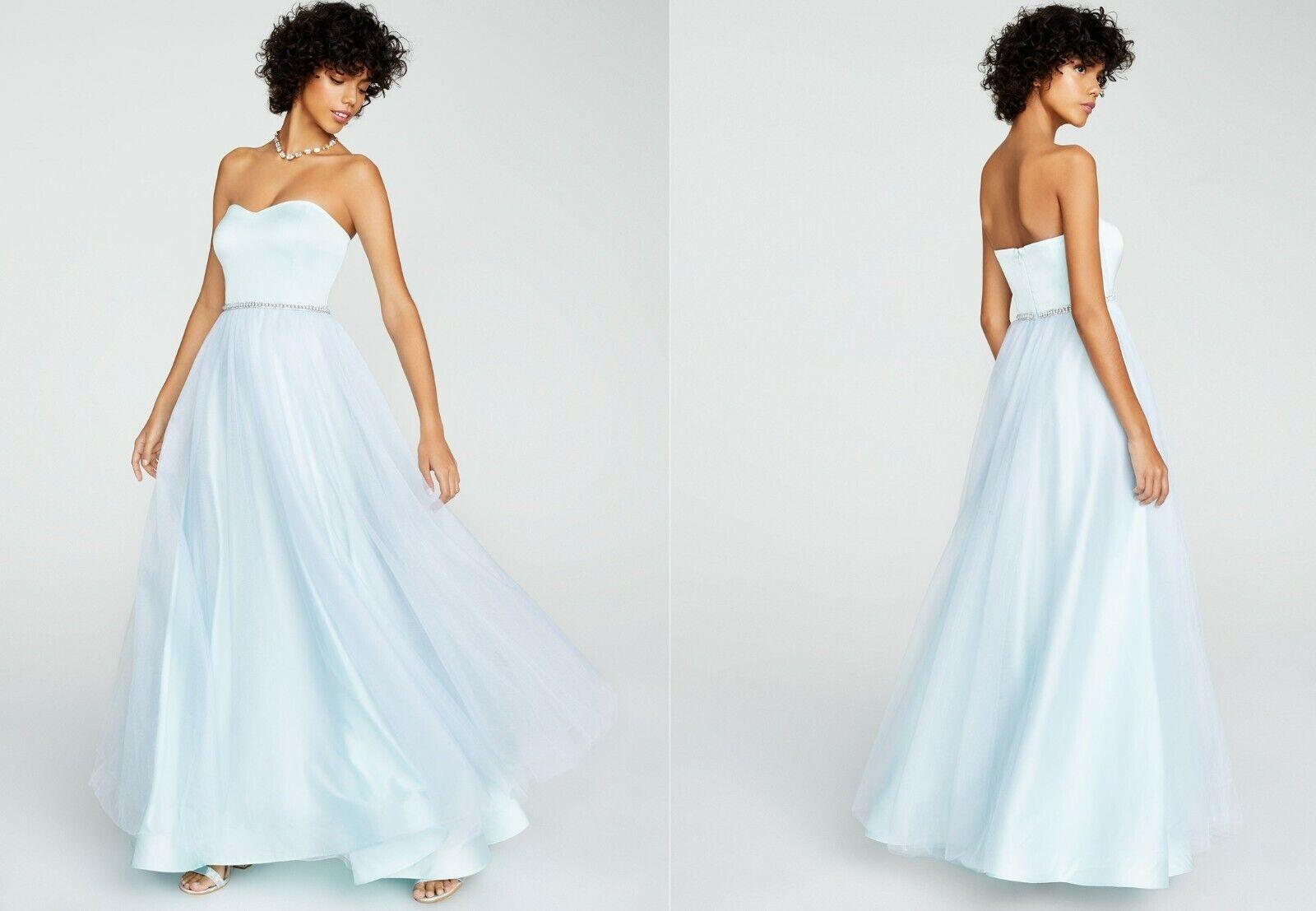 new BETSEY JOHNSON light teal blue STRAPLESS GLITTER TULLE GOWN sz 6 prom dress
