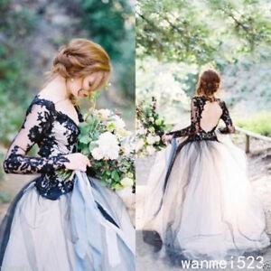 Tulle Black and White Gothic Wedding Dress V Neck Bridal Gown Custom ...