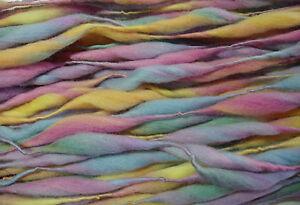 Handspun-merino-thick-and-thin-yarn-felting-doll-hair-dreads-hairfalls-PASTEL
