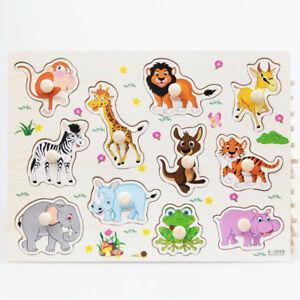 Wooden-Zoo-Wildlife-Animal-Peg-Puzzles-Jigsaws-Toddler-Kids-Preschool-Toy