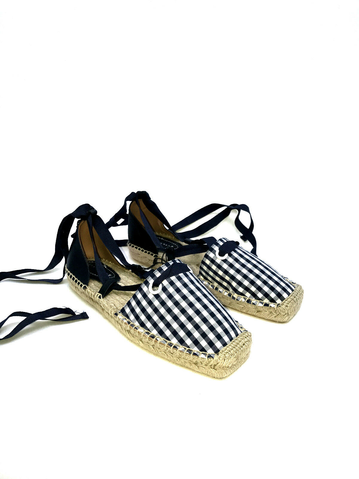 ZARA LACE-UP CHECK GINGHAM FABRIC ESPADRILLES FLAT Schuhe SIZE UK5 EUR38 US7.5
