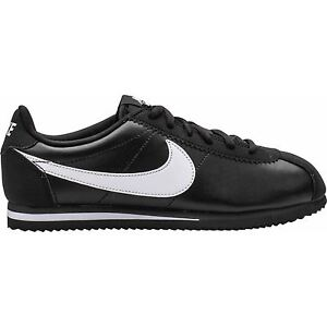 Image Is Loading Nike Cortez Black White Leather Youths Trainers