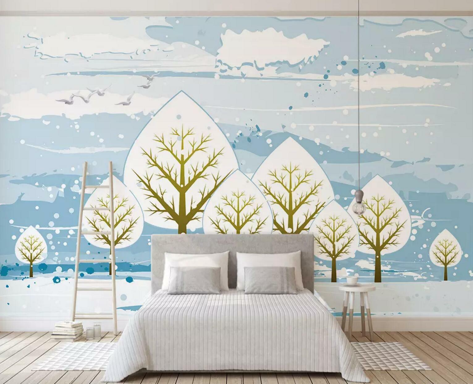 3D Snow Tree 351 Wall Paper Exclusive MXY Wallpaper Mural Decal Indoor wall