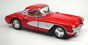 1957-Chevrolet-corvette-c1-rouge-blanc-modele-de-collection-1-34-de-kinsmart-article-neuf