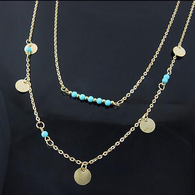 New Fashion Jewelry Womens Turquoise Pendant Chain Chunky Statement Bib Necklace
