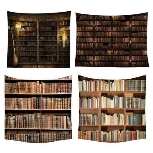 Retro Bookshelf Printing Tapestry Art Wall Hanging Blanket Beach Yoga Mat