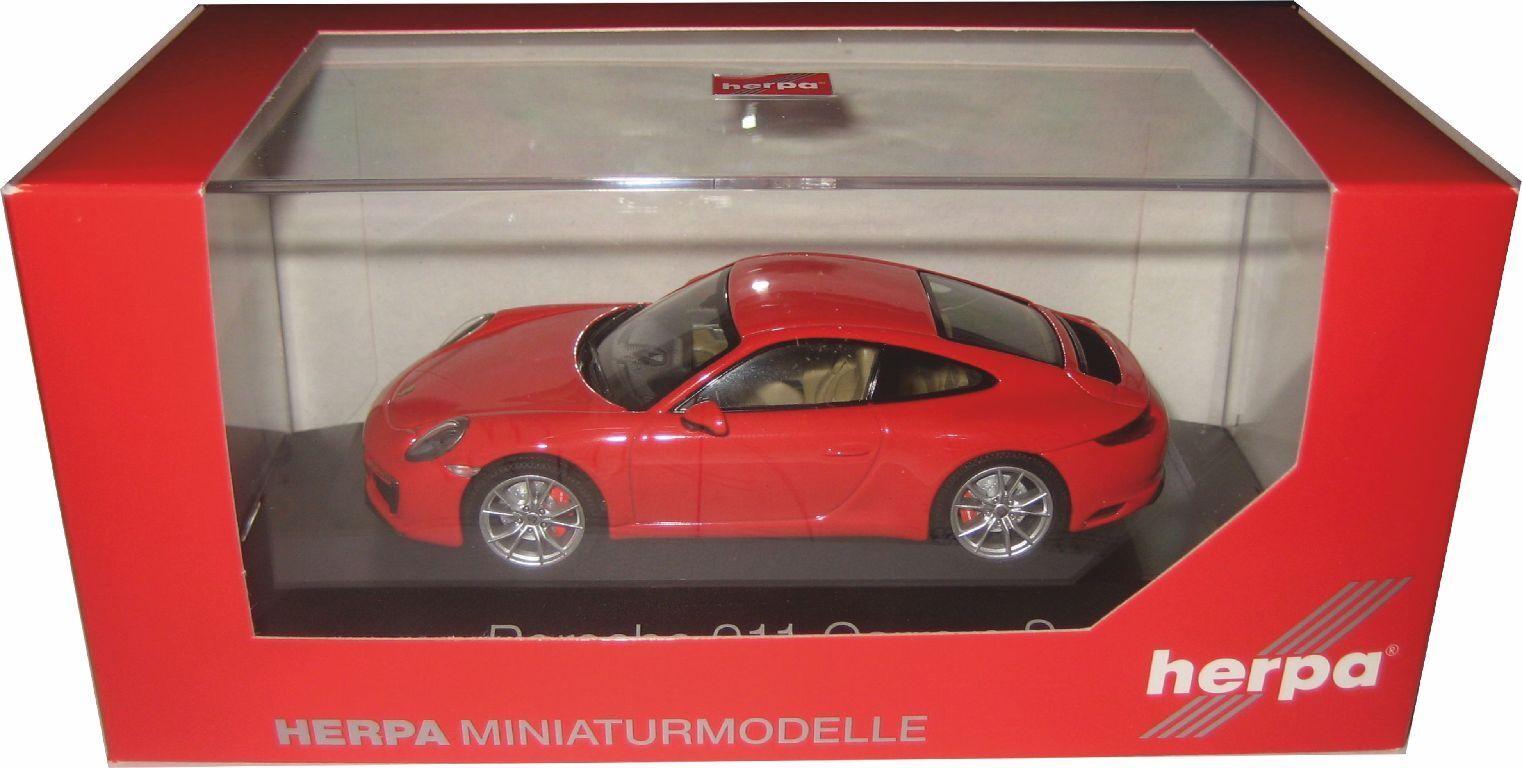 Herpa 070966 Porsche 911 Carrera S Coupe 991 II Rouge Indien 1 43