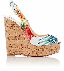 louis vuitton red bottom shoes - Christian Louboutin White Multi Une Plume Slingback Wedge Sandals ...