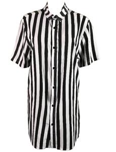 NANA-JUDY-Radicals-Men-039-s-SS-Button-Shirt-Black-amp-White-Stripes-Size-M