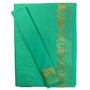 Internationale Trachten Brokat Sari Beige Olivgrün Goldbrokat Bindi Ohrhänger Wickelkleid Polyester Süd- & Zentralasien