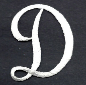 script letters white script letter d iron on embroidered