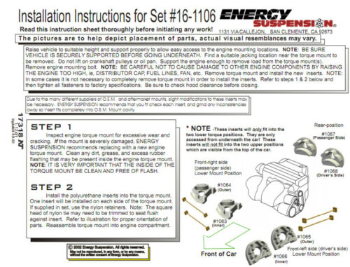 99-00 HONDA CIVIC SI ENERGY ENGINE MOTOR MOUNT INSERTS FOR 94-01 ACURA INTEGRA