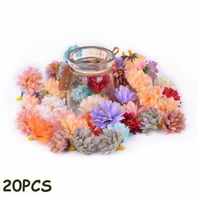 20PCS Artificial Flower Heads Silk Carnation Fake Gillyflower Wedding Decoration