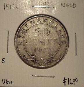 E-Newfoundland-George-V-1917c-Silver-50-Cents-VG