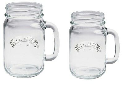 NEW Kilner Large 540ml Glass Handle Drinks Mug Tumbler Cocktail Beer Jar