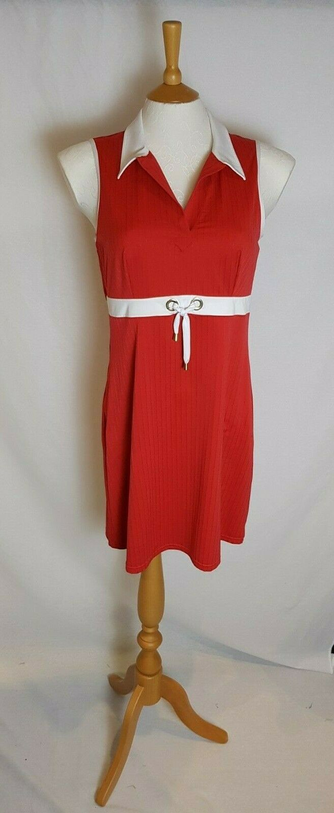 Cute Red And White 'Lise Charmel' Fitted Sun Dress, Large, Reduced    (Ref 111)
