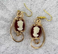 Vintage Antique Cameo Earrings in 14kt Rolled Gold Settings  1940s  Dark Amber