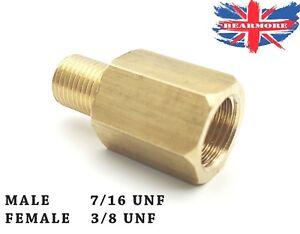 "Brass Union 7//16/"" UNF MALE to 3//8/"" UNF Female"
