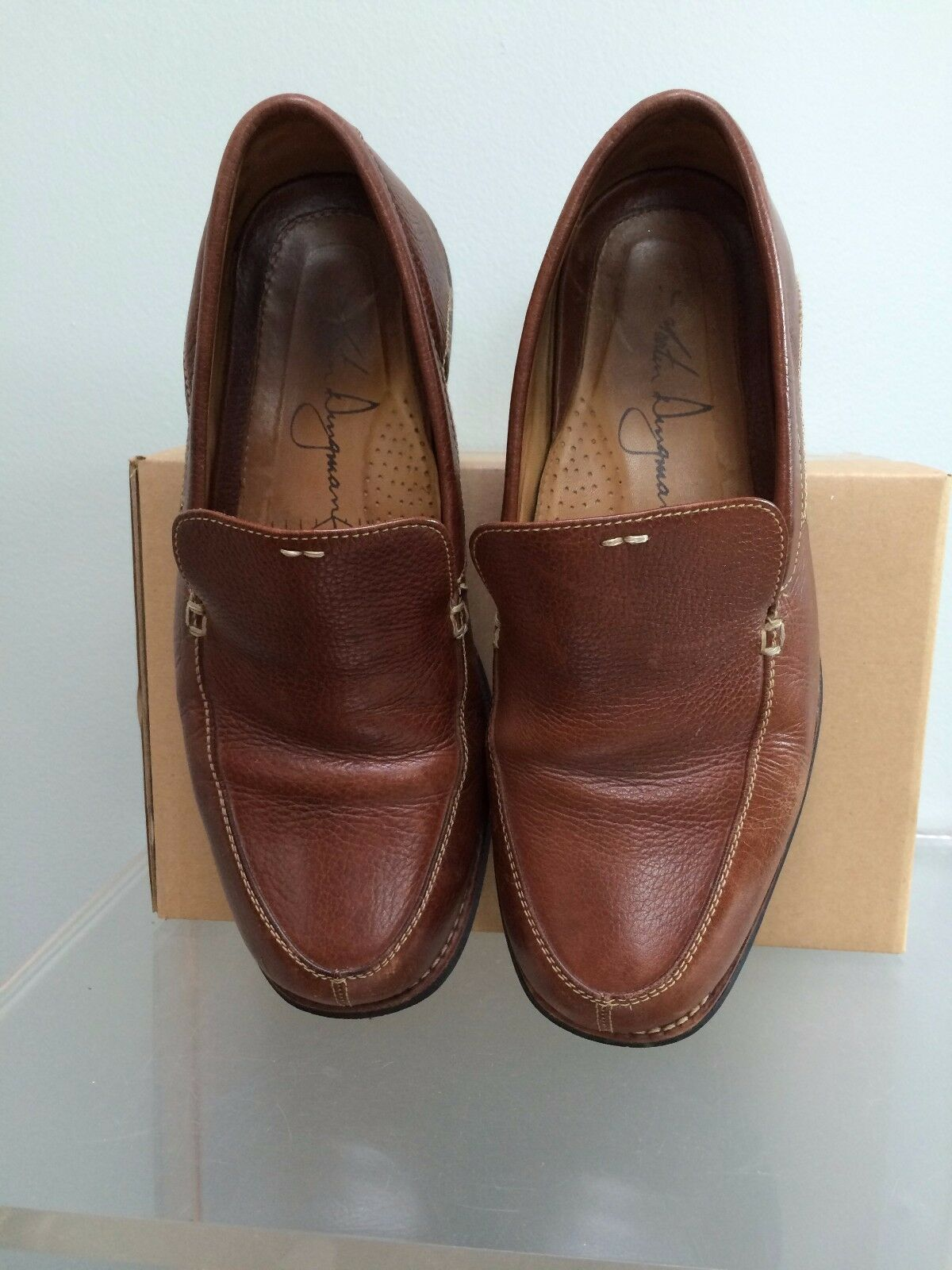 Scarpe casual da uomo Sz 8 M Martin Dingman Pebbled Brown Leather Loafers Slip-Ons