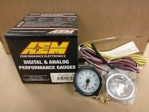 CLOSEOUT-AEM-ANALOG-EXHAUST-GAS-TEMP-EGT-GAUGE-0-980C-WHITE-FACE