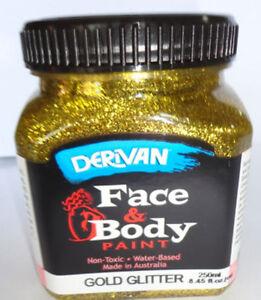 PAINTING-DERIVAN-GLITTER-FACE-PAINTS-1-GOLD-250ml-bottle