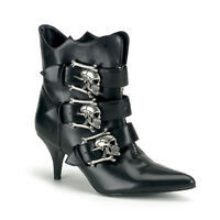 Demonia 2.75 Heel Skull Buckle Rocker Ankle Boots Witchy 6 7 8 9 10 11 12