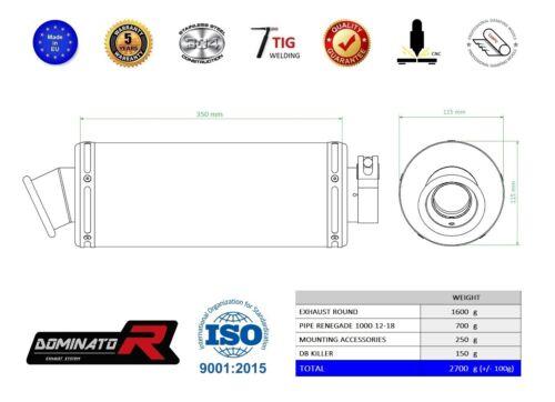 Exhaust silencer muffler DOMINATOR ROUND BRP Renegade 1000 12-18 DB KILLER