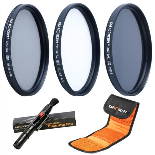 K/&F Concept 62mm UV ND4 CPL Filter Kit Lens Cleaning Pen for Canon Nikon Sony