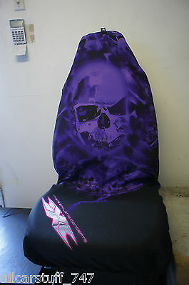 SINGLE Airbrush style seatcover - Purple Skull Airbrushed design Slip on cover
