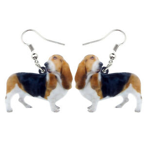 Acrylic Christmas Basset Hound Dog Earring Drop Dangle Pet Jewelry For Women Kid