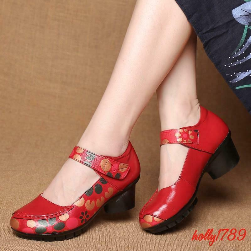 Retro Women's Block Heel Round Toe Mary Janes Printing Floral Ankle Strap Shoes
