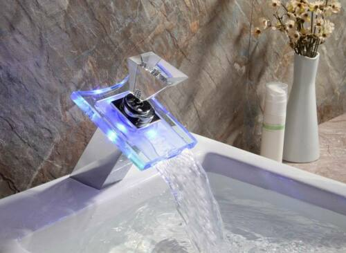 LED Waterfall Glass Spout Bathroom Basin Sink Vanity Mixer Faucet Deck Mount Tap