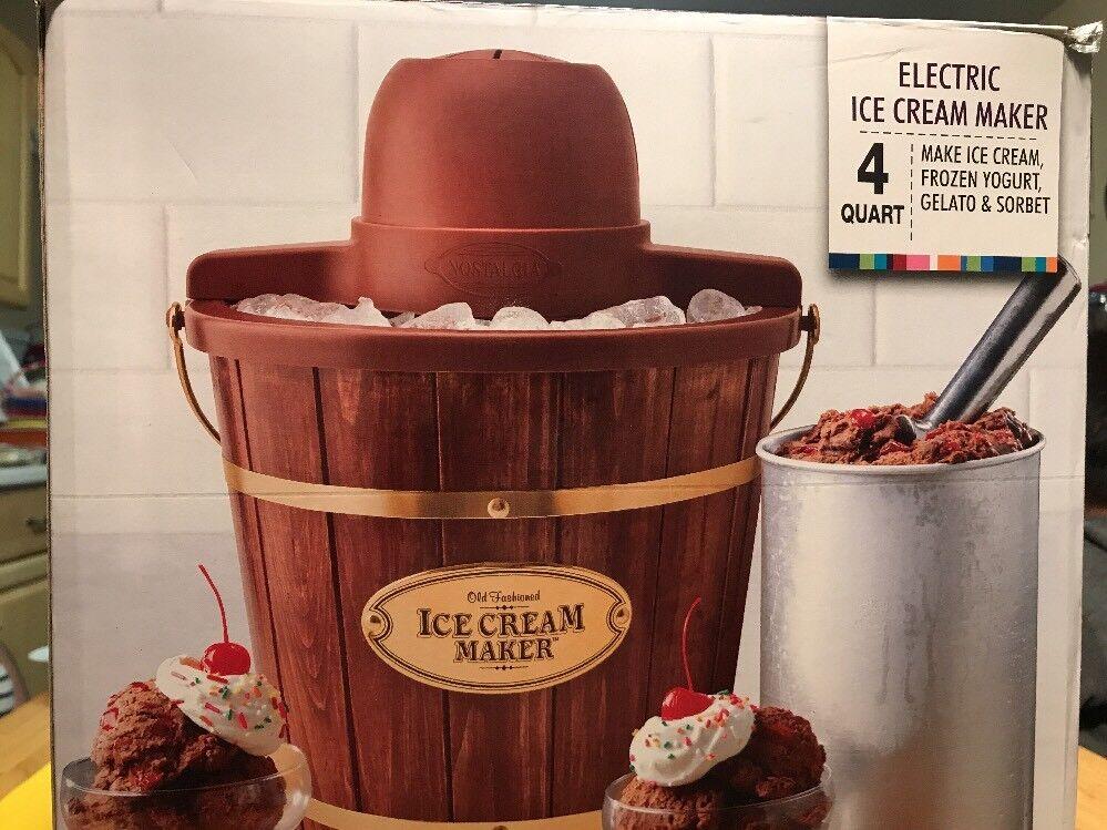 NOSTALGIA ICMW 400 4 Qt quart électrique en bois glace Congélateur Maker 7608383