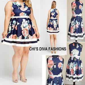 08328af068e Image is loading YOURS-CLOTHING-Floral-Print-Scuba-Skater-Dress-Sizes-