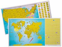 True North Maps Scratch Off World Us Travel Tracker Map Set W/ Precision Pen