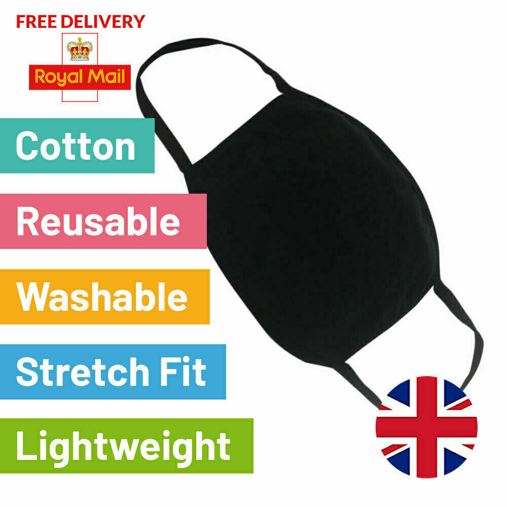 Face Mask Black Protective Breathable Cotton Washable Reusable Face Cover